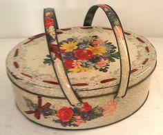 Vintage Oval Metal Tin Picnic Basket Box with Lid by EddiesShoppe,