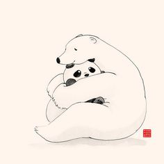 Panda And Polar Bear lovingly hugging each other. / The first drawing of webcomic Panda And Polar Bear / Welcome to our Facebook page for more cute updates! • Buy this artwork on apparel, stickers, phone cases, and more.