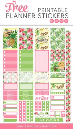 Enjoy this super cute free printable summer planner stickers kit! Summer Planner, To Do Planner, Cute Planner, Blog Planner, Planner Pages, Happy Planner, 2015 Planner, Planner Layout, Budget Planner