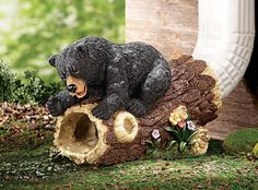 DOWNSPOUT EXTENSION CUTE BLACK BEAR ON LOG COUNTRY HOME DECOR  FOR WATER