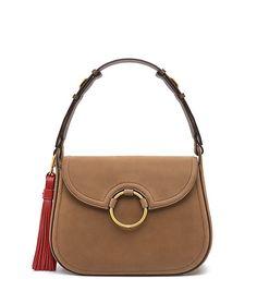 Tory Burch Tassel Large Shoulder Bag Color  River Rock  595, Removable  tassel, Fall f7a4eee9c0