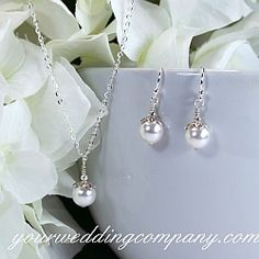 Classic Pearls Wedding Necklace & Earrings Set