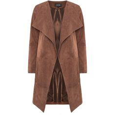 Patago Brown Plus Size Turn-down collar suede jacket (11.800 UYU) ❤ liked on Polyvore featuring outerwear, jackets, coats, coats & jackets, tops, brown, plus size, long jacket, suede leather jacket and brown suede leather jacket
