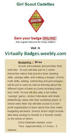 Budgeting Girl Scout Cadette badge earned online!