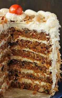 This carrot cake recipe produces a gorgeous, tall carrot cake with a rich coconut cream cheese frosting.