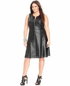 Calvin Klein Plus Size Sleeveless Faux-Leather A-Line Dress #plussizedresses