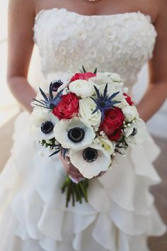 A patriotic colored, but beautifully rustic wedding bouquet!