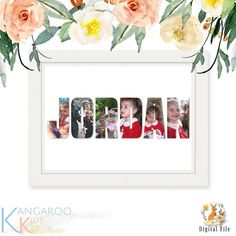 Name Photo Art Collage Personalised Gift Name Photo Gift image 0 Photo Collage Design, Photo Collage Gift, Photo Art, Woodland Animal Nursery, Name Photo, Gifts For New Parents, Letter Art, Nursery Prints, Custom Photo