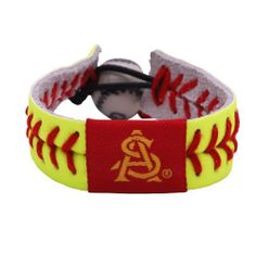 Arizona State Sun Devils Classic Softball Bracelet by Gamewear, Inc.. $4.57. Raised stitches give the real feel of a softball. One-size-fits-all. Unique elastic softball bead closure. Made from real softball stitches and authentic softball leather. NCAA Arizona State Sun Devils Classic Softball Bracelet