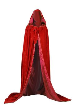 Melisandre Costume: Game of Thrones Costumes Game Of Thrones Costumes, Red Costume, Hooded Cloak, Medieval Wedding, Wedding Cape, Quality Wigs, Thing 1, Medieval Dress, Cool Halloween Costumes