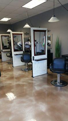 Calming Effects repurposed doors salon stations
