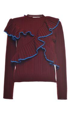 Bordeaux Ruffled Rib Stitch Knit Crewneck by MSGM for Preorder on Moda Operandi