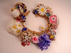 May Flowers Repurposed Vintage Jewelry Charm Bracelet one of a kind!