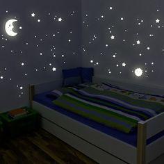 """Adhesivos de pared luminosos de Wandkings """"Sol, luna y estrellas Juego XL"""" 114 adhesivos en 2 hojas A4, fluorescentes y brillantes en la oscuridad"""