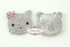 Rhinestone Crystal Bling Kitty Flatback Metal Embellishment Button Adornment - Add to Iphone Favors Accessories Invitations Frames Beading Supplies, Crystal Rhinestone, Embellishments, Favors, Frames, Delicate, Gems, Bling, Kitty