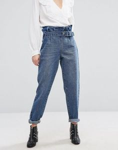 Lost Ink Mom Jeans With Paper Bag Waist