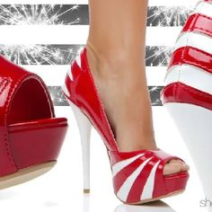 stripes - perfect heels for Christmas look like candy canes!