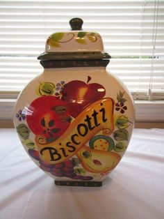 Nonni's Biscotti Jar Tuscan Fruit Ginger Jar Cookie Canister Hand Painted