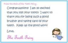 a visit from the tooth fairy very cute idea