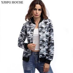 >> Click to Buy << YJSFG HOUSE Autumn Women Long Sleeve Camouflage Bomber Jacket Casual Long Sleeve Zipper Coats Female Slim Jackets Outwear Green #Affiliate