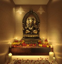 india house interior pooja room - would feel great at the entrance of home Temple Room, Home Temple, Mandir Design, Pooja Room Design, Indian Prayer, India House, Indian Interiors, Puja Room, Prayer Room