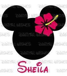 Hawaiian Minnie Mouse head ears Digital Iron on transfer clip Iron On Transfer, Transfer Paper, Mickey Minnie Mouse, Disney Mouse, Disney Silhouettes, Disney Art, Disney Crafts, Disney Shirts, Disney Outfits