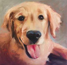 Norma Wilson Original Oil Golden Retriever Dog Portrait Painting Art #Impressionist