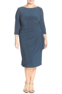 Alex Evenings Embellished Scoop Back Faux Wrap Dress (Plus Size)