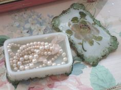 Vintage MILK GLASS  Roses Vanity Box  Victorian  by IWANTVINTAGE, $20.00