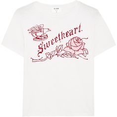 RE/DONE Sweetheart flocked printed cotton-jersey T-shirt (550 PLN) ❤ liked on Polyvore featuring tops, t-shirts, shirts, t shirt, relaxed fit t shirt, cotton jersey t shirt, white t shirt, flock t shirt and rose shirt