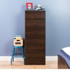 Astrid 6-Drawer Tall Chest, Espresso                             – Wholesale Furniture Brokers