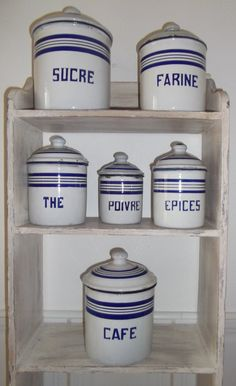 Antique French ENAMELWARE KITCHEN CANISTERS Vintage French Kitchen Blue And  White Enamel