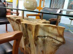 Lovely Tree Stump Glass Table