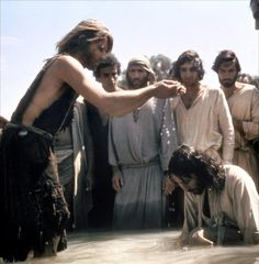"John the Baptist (Michael York) and Jesus (Robert Powell) in 1977's ""Jesus of Nazareth."""