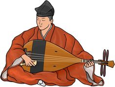 Biwa (Gakubiwa) / The biwa came to Japan in the 7th century and it was evolved from the Chinese instrument pipa. This type of biwa is called the gaku-biwa and was used in Japanese gagaku-ensembles.