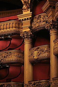 Balconies inside the Paris Opera House, Paris, France. Opera Garnier Paris, Paris Opera House, Baroque, Balcon Juliette, Charles Garnier, Storm And Silence, Great Comet Of 1812, Phantom Of The Opera, Concert Hall