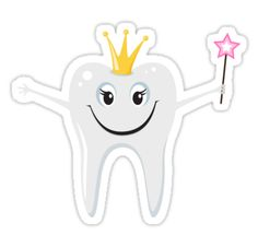 Sticker featuring a cartoon illustration of the tooth fairy holding a magic wand and wearing a golden crown.