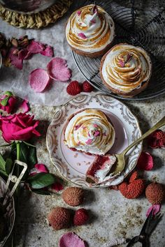 raspberry and lychee curd tarts with crystallised rose petal meringue