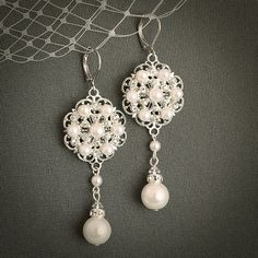 Ivory or White Pearl and Crystal Wedding Bridal Earrings, Vintage Style Wedding Bridal Leverback Chandelier Earrings, Silver Filligree
