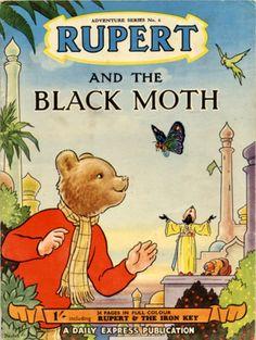 Rupert and the Black Moth Childrens Book Shelves, Childrens Books, Winnie The Poo, Children's Book Illustration, Book Illustrations, Paddington Bear, Strong Love, Vintage Children's Books, My Childhood Memories