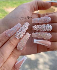 Acrylic Nails Coffin Pink, Summer Acrylic Nails, Coffin Nails, Stiletto Nails, Summer Nails, Glam Nails, Bling Nails, 3d Flower Nails, Butterfly Nail