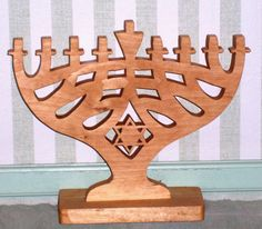 Hand cut wooden Menorah by tomscraftcastle on Etsy, $35.00