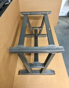 Super Heavy Duty Table Base, Turned A-Shaped Modern Steel Base, Design Steel Table Legs + 2 Upper And 1 Lower Braces Steel Table Legs, Steel Dining Table, Slab Table, Dining Table Legs, Diner Table, Industrial Design Furniture, Steel Furniture, Modern Table, Wood And Metal