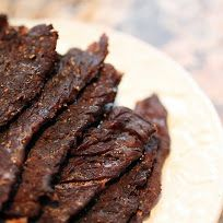 Beef Jerky... 3 	lbs Beef roast thinly sliced (⅛-¼ in)  ⅓ 	cup worst. sauce  ¼ 	cup soy sauce  2 	T liquid smoke  2 	T A1 steak sauce  1 	tsp garlic powder  1 	tsp onion powder  ½ 	tsp pepper  2 	T brown sugar