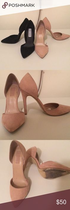 Black and Nide pumps Double trouble time ....  these super cute pumps 👠 forever 21 Nude pumps are size 6 1/2 and Steve Madden pumps are size 6 ( only worn once according to previous owner - they didn't fit me I have to sell them) nude heels have been worn only like 4x's. I'm posting these items together BUT make me offer if you just prefer one pair 👍 Steve Madden Shoes Heels