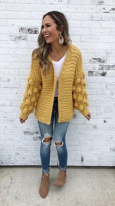 Brunswick-Mustard. Mustard chunky knit cardigan with puffer sleeves. Mustard cardigan. Chunky knit cardigan. Fall cardigan. Fall fashion. Fall style.