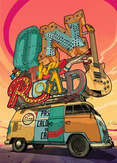 made by: Davi Augusto , 'On the Road' - Digital art Image Deco, Illustration Art, Illustrations, Arte Pop, Grafik Design, Street Art, Artsy, Typography, Drawings