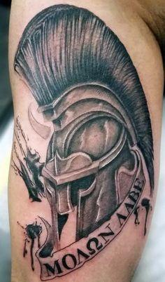 Masculine Mens Ancient Greek Molon Labe Helmet Tattoo Design On Arm