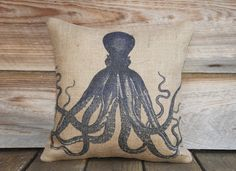 Blue Octopus Pillow Cover, Throw Pillow, Nautical Cushion Cover, Beach Decor, Accent Pillow, Beige, 16x16