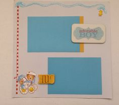 BABY BOY Scrapbook Premade Pages - 1 Page 12 by 12 in Vintage Style Yellow Blue